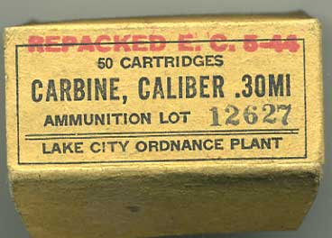 Rare box for 50x  .30 Short M1 Carbine rounds, May 1944 dated
