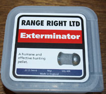 Range Right Exterminator .22 Calibre domed 16 grain pellet £13.95