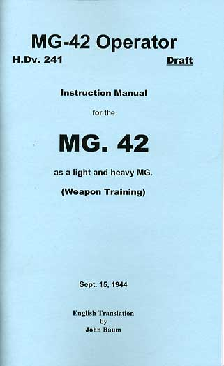 HDv241 MG42 Operators Manual 1944