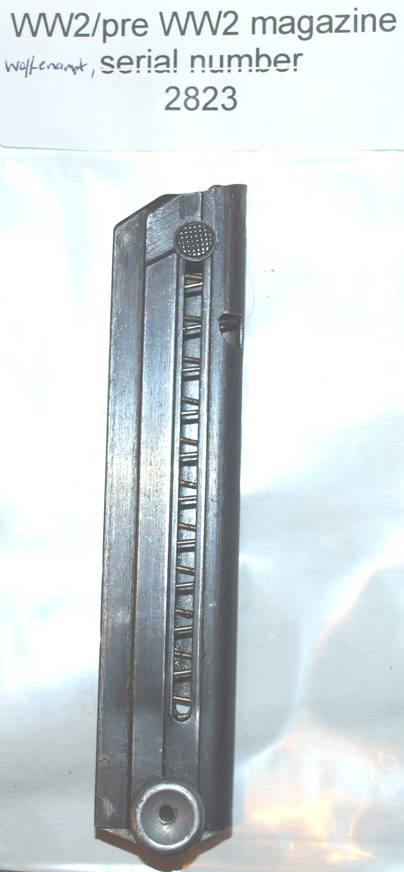 Luger P08 magazine WW2 aluminium base Serial Number 2823